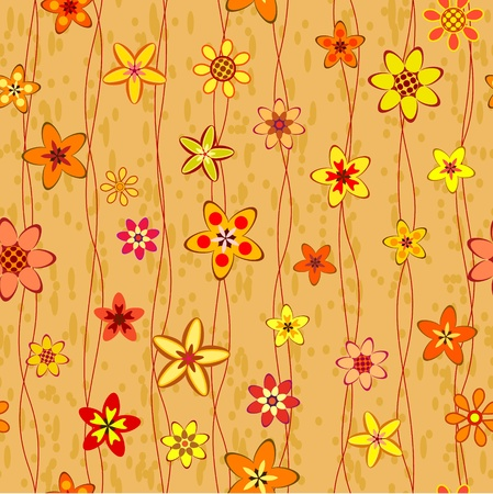 abstract warm color flowers seamless background pattern