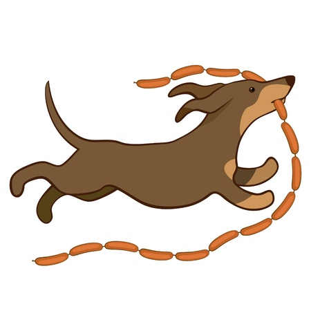 dog eating: lucky dog runing with sausages vector illustration Illustration