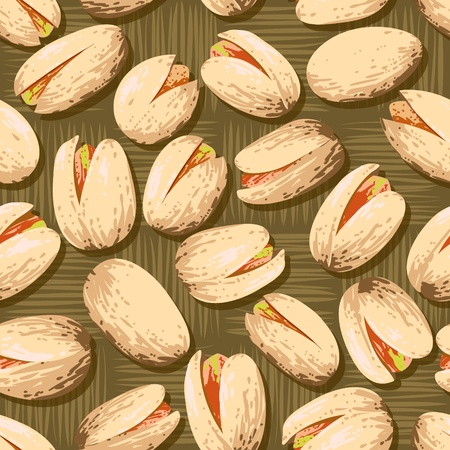 Background of delicious pistachio nuts. Food texture.  ** Note: Slight blurriness, best at smaller sizes Vector