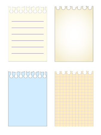 vector paper notebook sheets set pattern isolated Stock Vector - 11142810