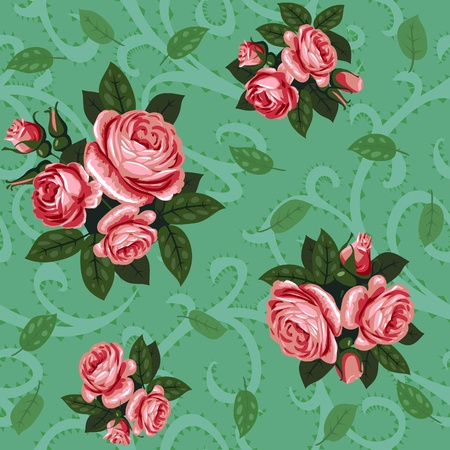 vector red rose group seamless background pattern Stock Vector - 11142835