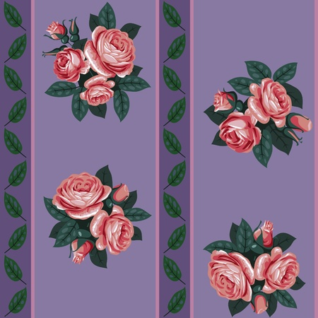 vector red rose line seamless background pattern Stock Vector - 11142831