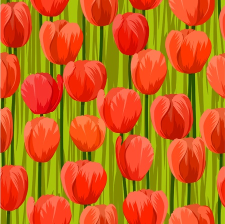 vector tulip flowers field seamless background pattern Vector