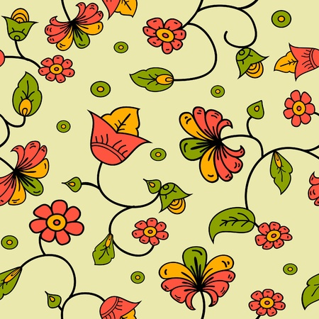 vector Russian style floral seamless background pattern