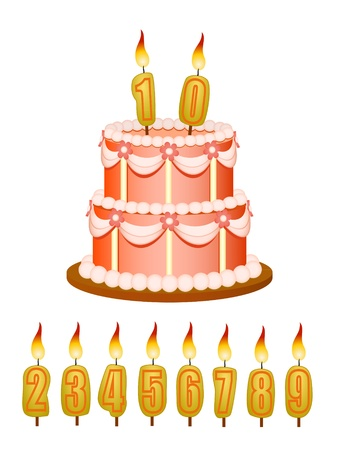 anniversary cake with candles isolated on white Vector