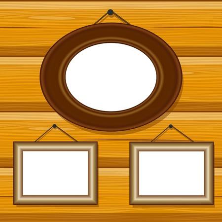 blockhouse: vector frames on wooden blockhouse wall pattern