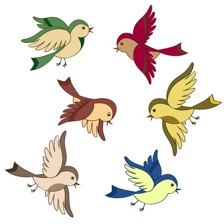 pajaro caricatura: conjunto de vectores de dibujos animados de aves volando aislados