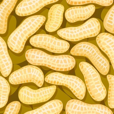 vector peanuts in pod seamless background pattern