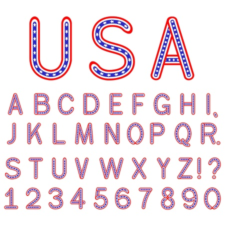 vector USA symbol alphabet letters font isolated Stock Vector - 11398432