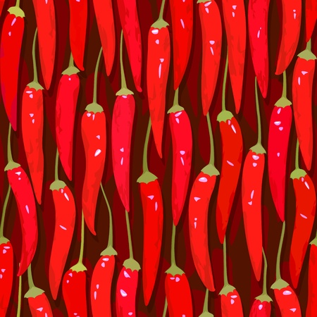 vector red cayenne chili pepper seamless background Stock Vector - 11398434