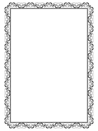 borderframe: Vector calligraphy ornamental decorative frame with heart