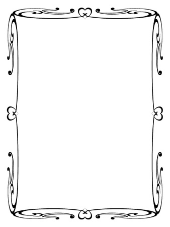 simple border: Vector calligraphy ornamental decorative frame with heart