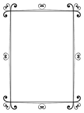 calligraphy frame: Caligraf�a ornamental vector marco decorativo con el coraz�n