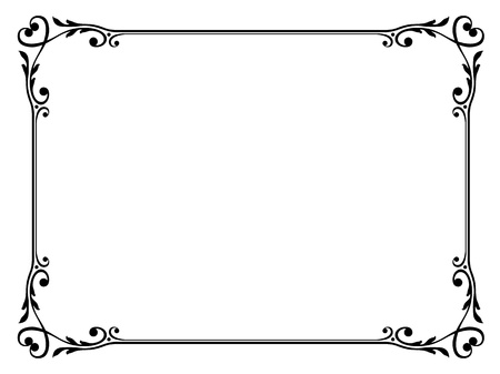 scroll border: Vector calligraphy ornamental decorative frame with heart