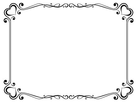 Vecteur de calligraphie cadre ornemental décoratif avec coeur Vecteurs