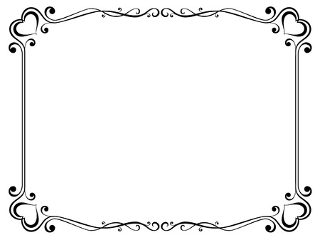 Vector calligraphy ornamental decorative frame with heart
