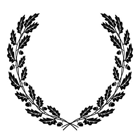 ek: vektor krans av eklöv svart siluett Illustration