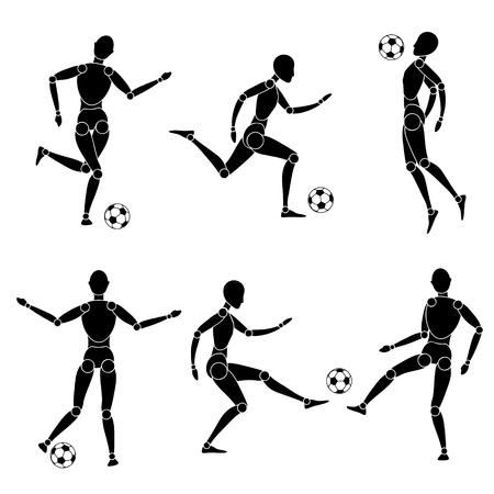 model man silhouette play with ball soccer football  Vector