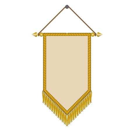 un'immagine vettoriale di un gagliardetto con frangia d'oro Vettoriali