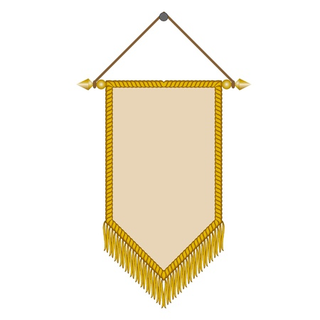 fringe: vector image of a pennant with gold fringe