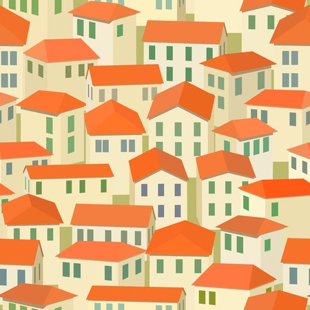seamless red roof of old Mediterranean town Stock Vector - 11655523