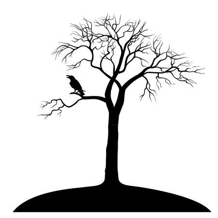 kale: silhouet raven op boom op een witte achtergrond Stock Illustratie