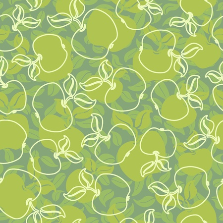vector abstract apples with leaves seamless background Stock Vector - 11655531