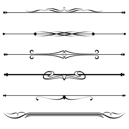 regel: Vector set van decoratieve divider, elementen, grens Stock Illustratie