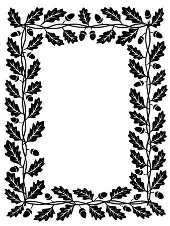 acorn seed: vector oak leaf frame black silhouette isolated Illustration
