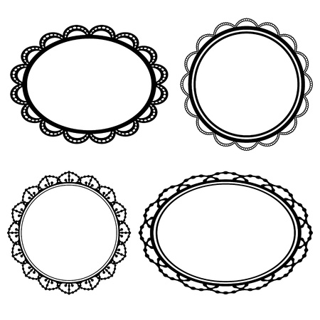 Set of frame oval lace black silhouette Vector
