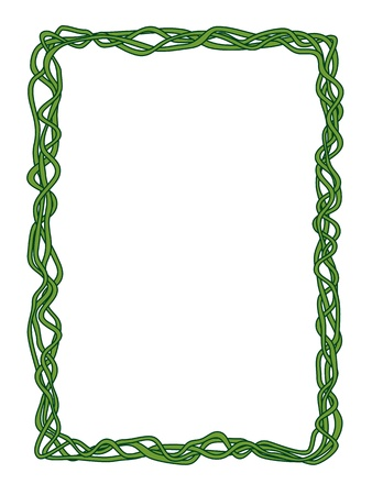 liana: Vector green abstract liana ornamental decorative frame Illustration