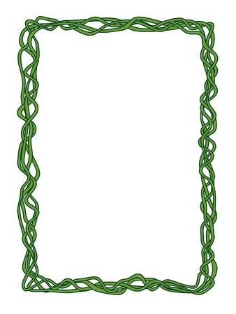 vine border: Vector green abstract liana ornamental decorative frame Illustration