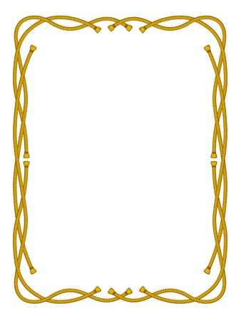 rope border: vector frame from rope isolated on white