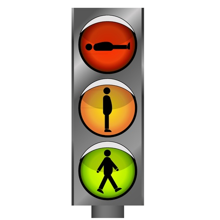 regulate: Vector funny traffic lights with man silhouette Illustration