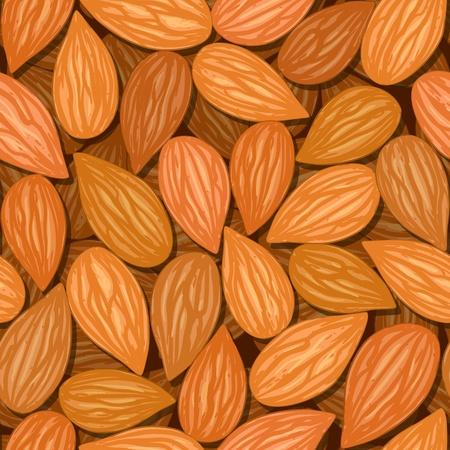 frutas secas: almendras vector patr�n marr�n tuerca de fondo sin fisuras