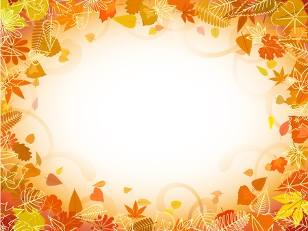 autumn forest: Autumn leaf frame with space for text pattern