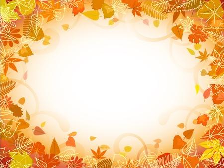autumn leaf frame: Oto�o marco de la hoja con espacio para patr�n de texto