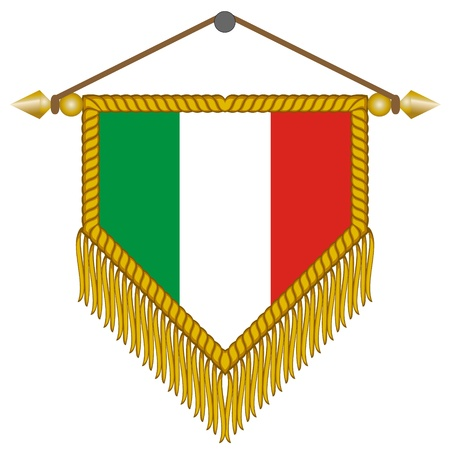 banderol: pennant with the national flag of Italy