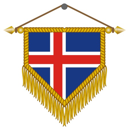 iceland: pennant with the national flag of Iceland