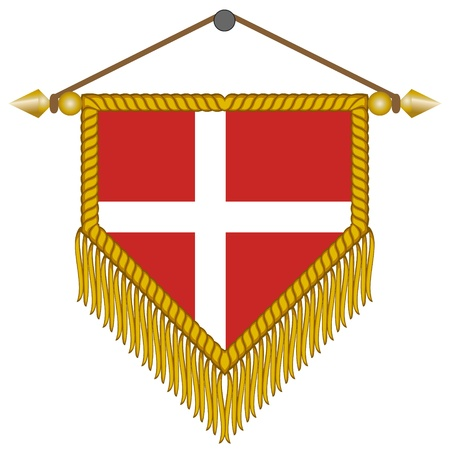 banderol: vector pennant with the national flag of Denmark