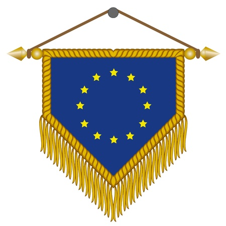 banderol: pennant with the national flag of European Union