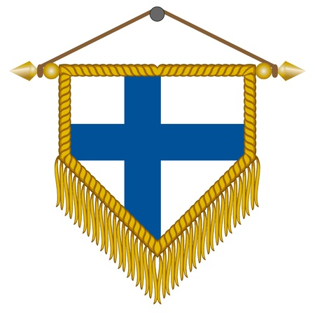 finland: pennant with the national flag of Finland