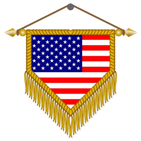 banderol: pennant with the national flag of USA America Illustration