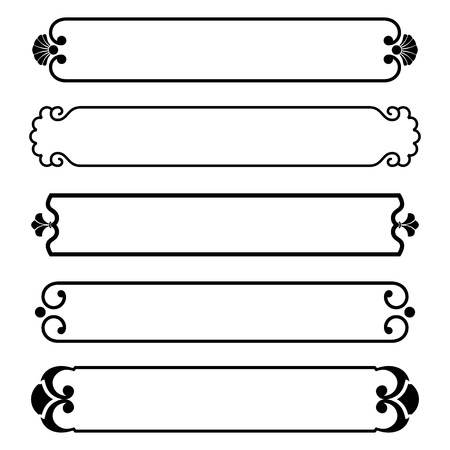 simple background: set of simple black banners border frame