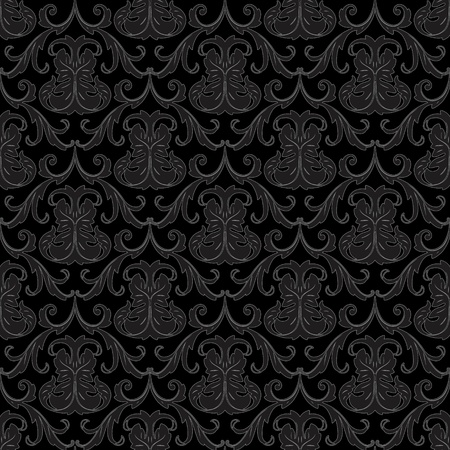 black silk: seamless black floral abstract wallpaper pattern background