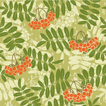background of red rowan seamless pattern Vector