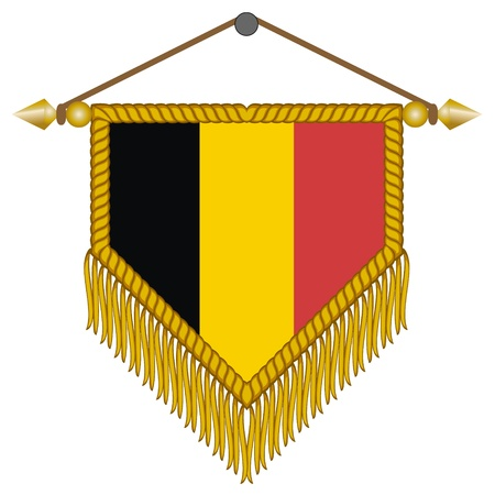banderol: pennant with the national flag of Belgium Illustration