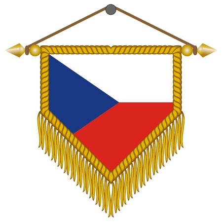 banderol: pennant with the national flag of Czech Republic