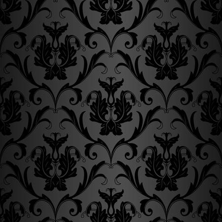 baroque: negro floral sin fisuras de fondo de papel pintado abstracto