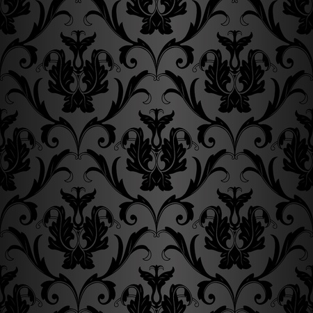 baroque: seamless black floral abstract wallpaper pattern background